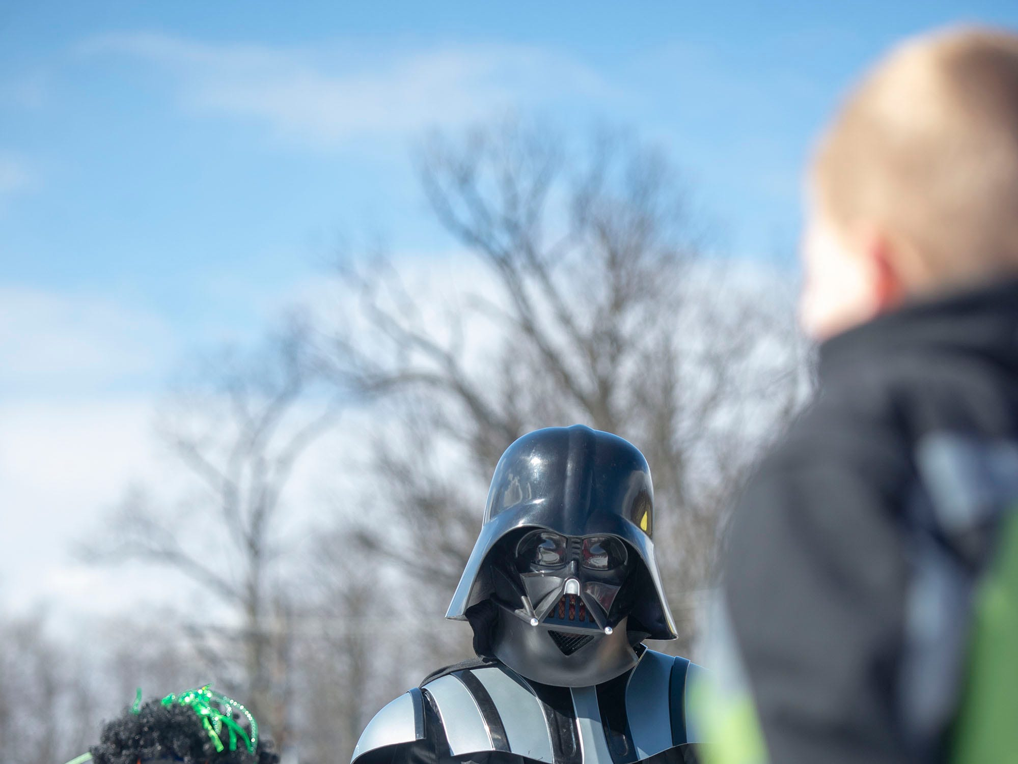 'Darth Vader' was the runner-up at Roundtop Mountain Resort's pond skimming costume contest on Saturday, March 16, 2019. He was the first one down the hill and didn't make it across the pond.