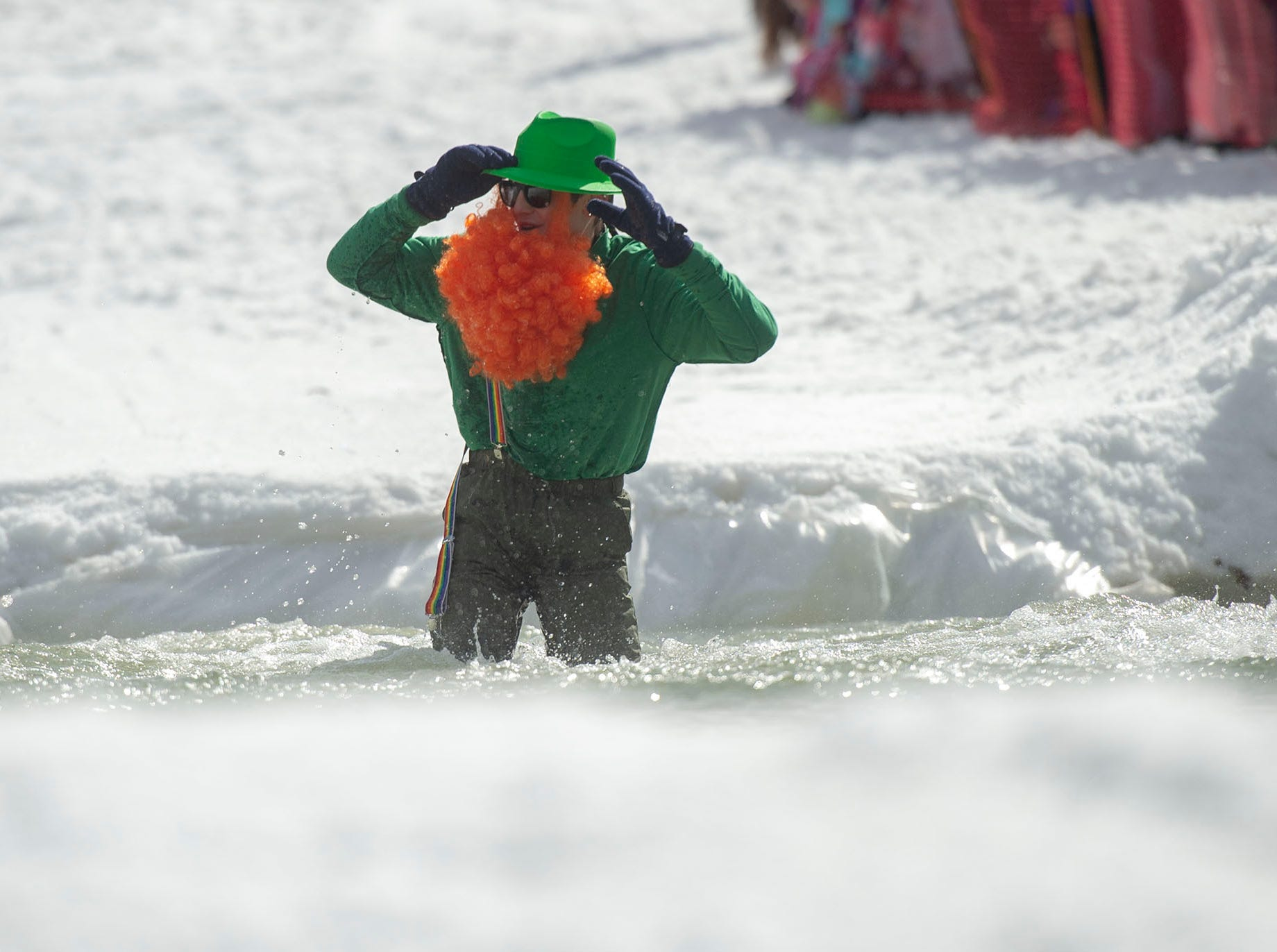 This wasn't the way this leprechaun anticipated his pond skimming run to go at Roundtop Mountain Resort on Saturday, March 16, 2019.