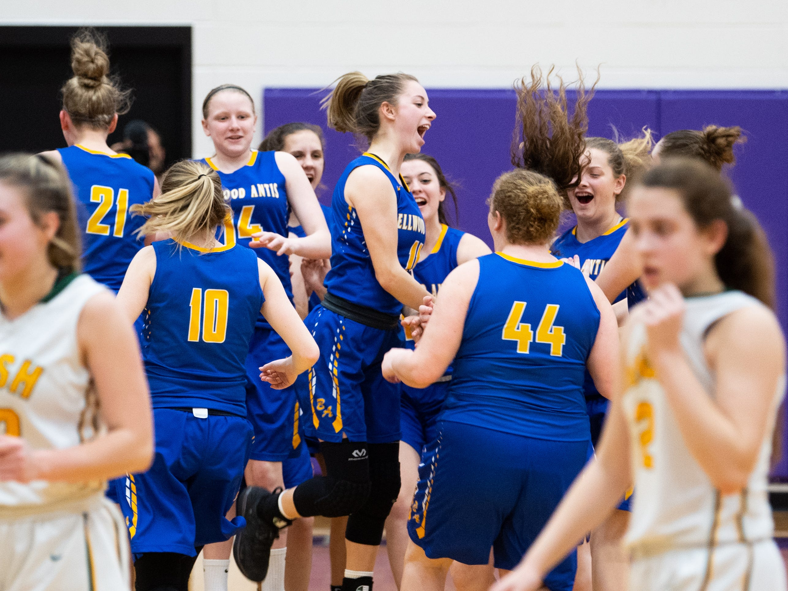 Bellwood-Antis celebrates after defeating York Catholic in the PIAA girls' basketball game, March 15, 2019 at Mifflin County High School. The Fighting Irish lost to the Lady Blue Devils 53 to 47.