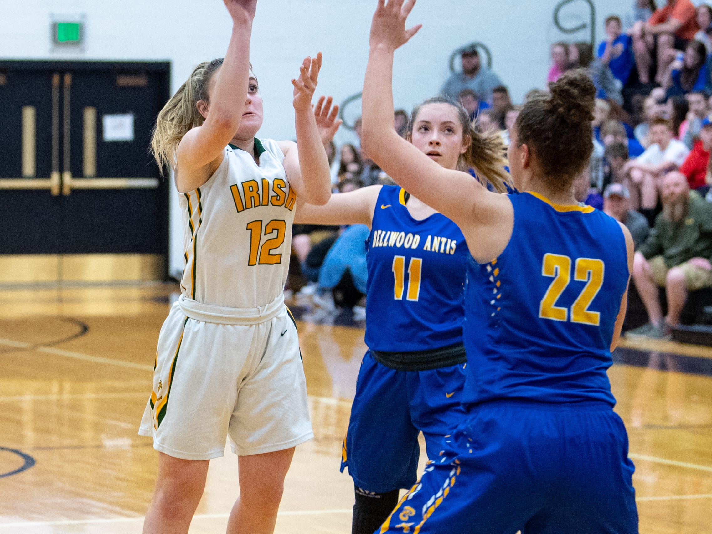 Samantha Bulik (12) takes the shot during the PIAA girls' basketball game between York Catholic and Bellwood-Antis, March 15, 2019 at Mifflin County High School. The Fighting Irish lost to the Lady Blue Devils 53 to 47.
