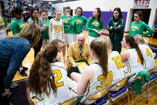 York Catholic comes up with a game plan during the PIAA girls' basketball game between York Catholic and Bellwood-Antis, March 15, 2019 at Mifflin County High School. The Fighting Irish lost to the Lady Blue Devils 53 to 47.