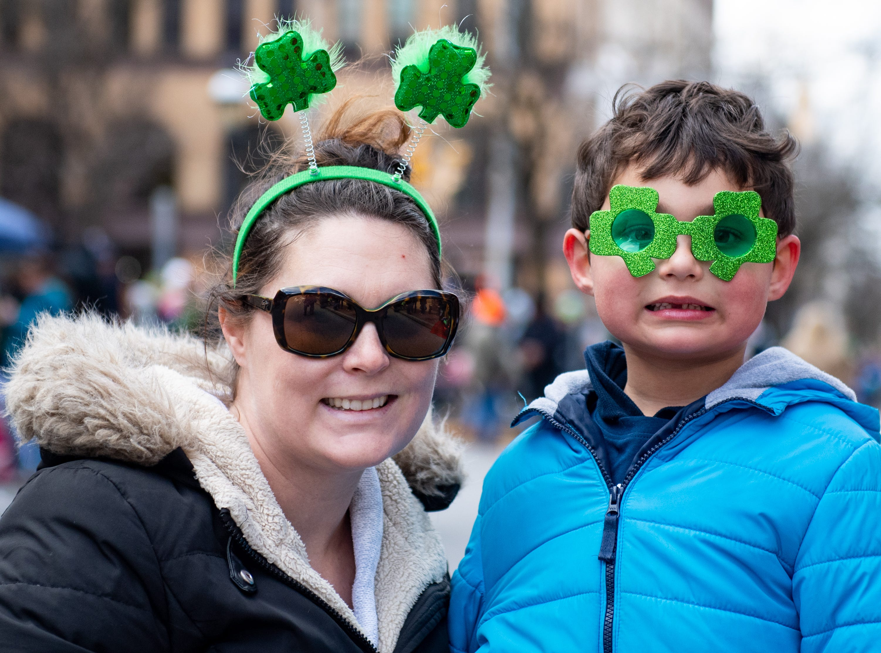 Julie Kumar and her son, Rohan, are ready for the 36th Annual St. Patrick's Day Parade, March 16, 2019.