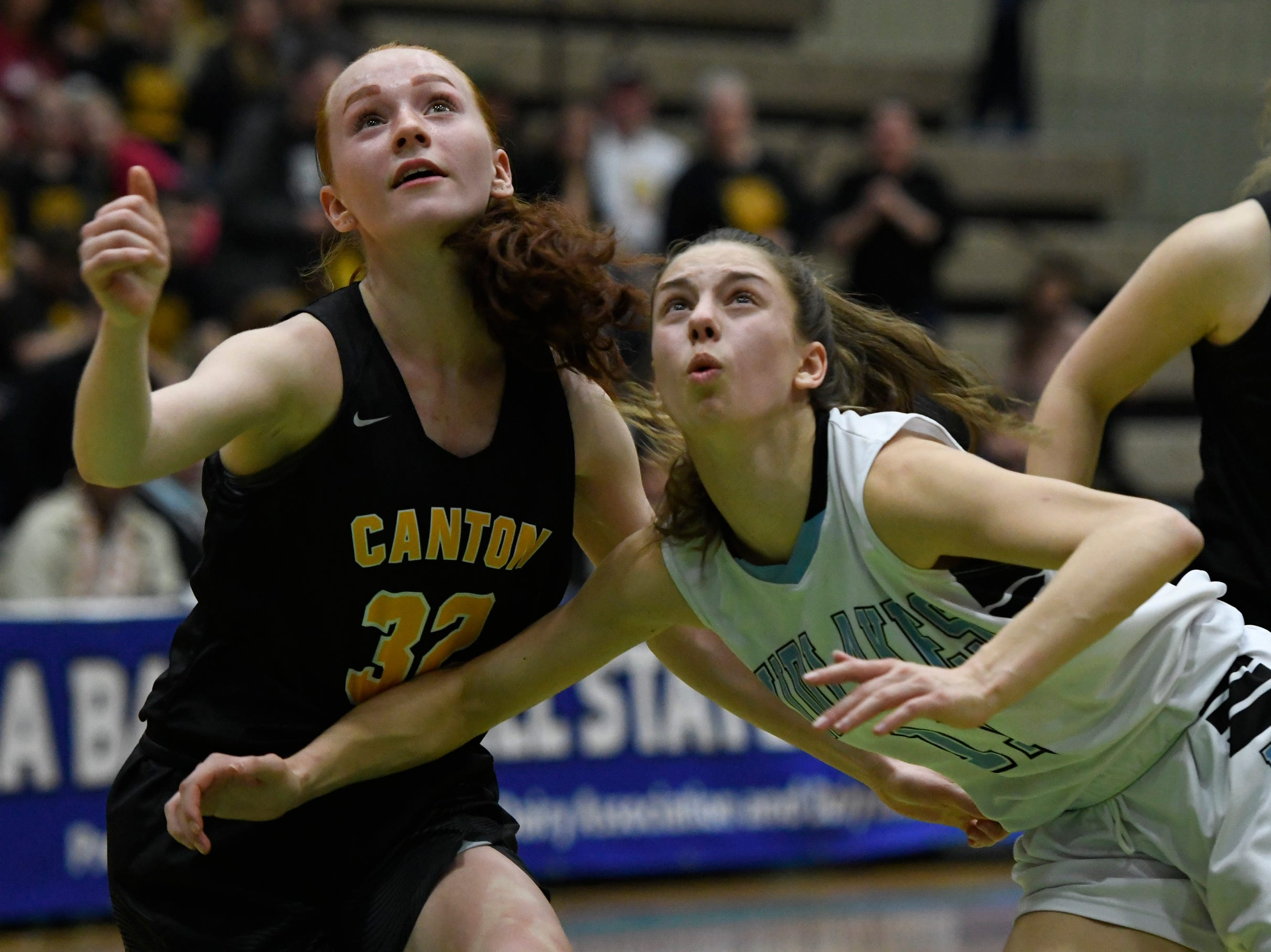 Midlakes's Macy Kisner and Canton's Hailee Duvall battle for a rebound during their Class B State Semifinal at Hudson Valley Community College in Troy, N.Y. on Friday, Mar. 15, 2019.