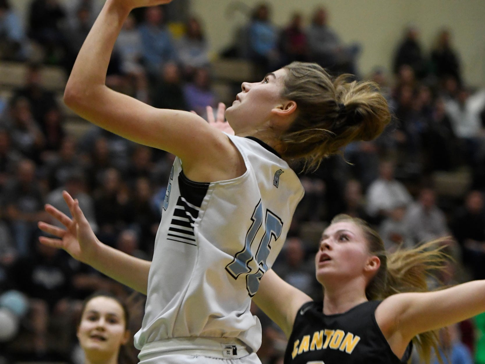 Midlakes's Cara Walker makes a shot during their Class B State Semifinal against Canton at Hudson Valley Community College in Troy, N.Y. on Friday, Mar. 15, 2019.