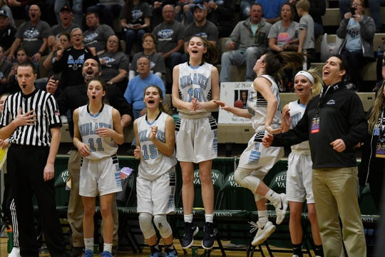 The Midlakes bench celebrates as the time winds down on the clock during their Class B State Semifinal against Canton at Hudson Valley Community College in Troy, N.Y. on Friday, Mar. 15, 2019. Midlakes advanced to the final against Irvington with a 64-44 victory over Canton.