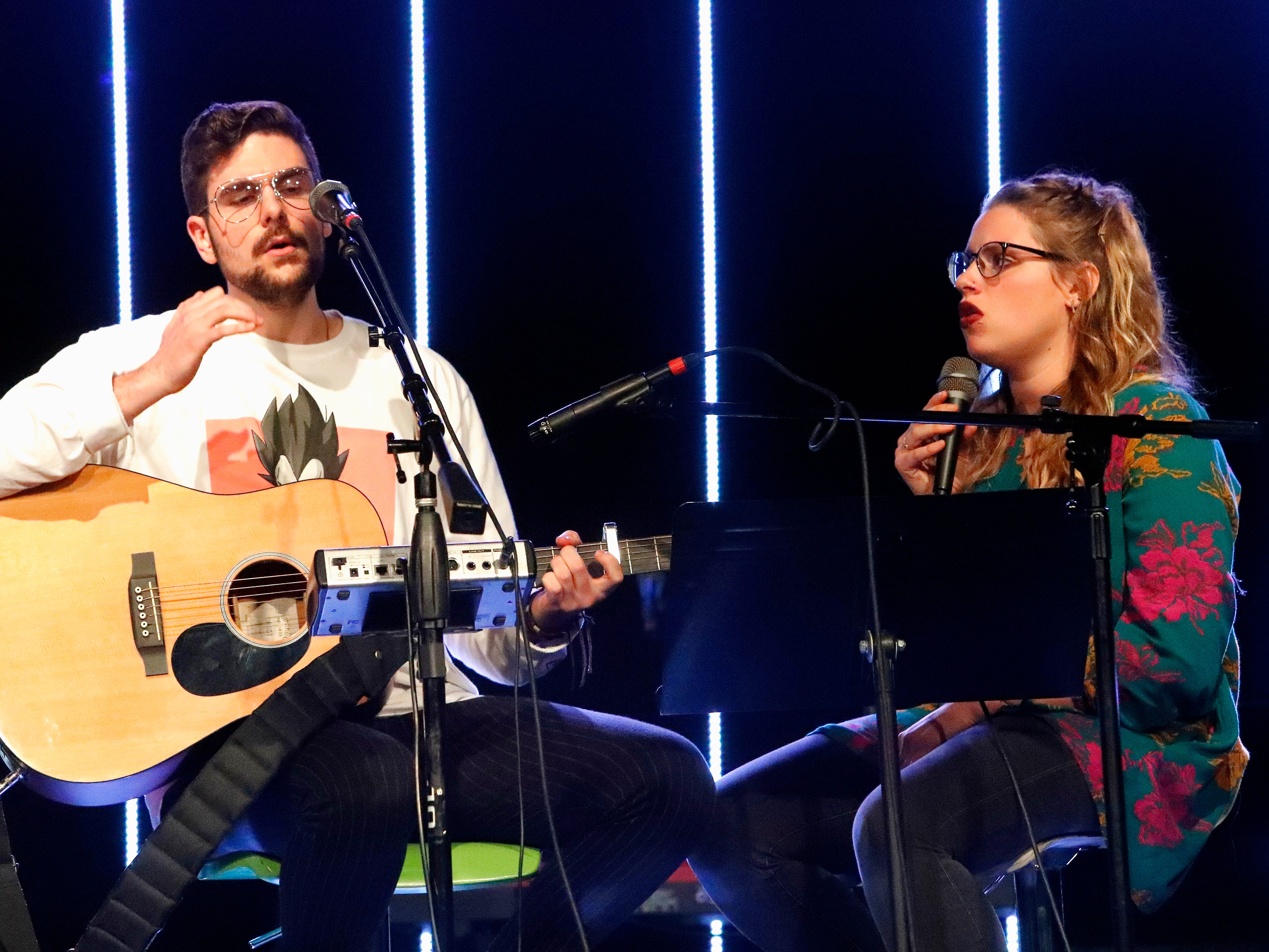 International students from Bethel Church's School of Supernatural Ministry present the Concert of the Nations on Thursday, March 14, 2019, in Redding. Pictured are Mathieu Rossignol (Belgium) and Elizabeth Plante (Québec, Canada), representing French-speaking countries.