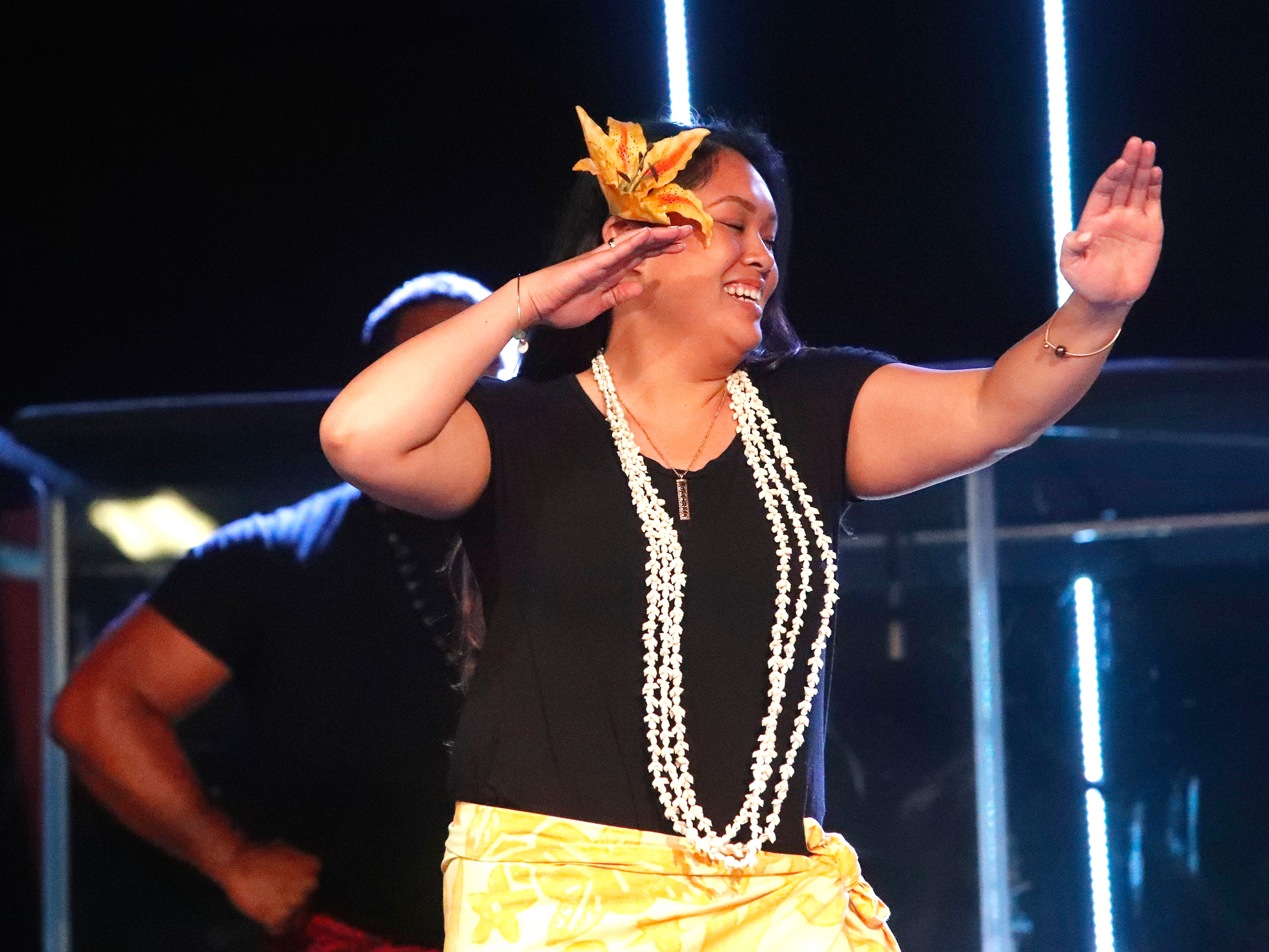 International students from Bethel Church's School of Supernatural Ministry present the Concert of the Nations on Thursday, March 14, 2019, in Redding. Pictured is Daralynne Liliuokalani Fumar (Pacific Islands).