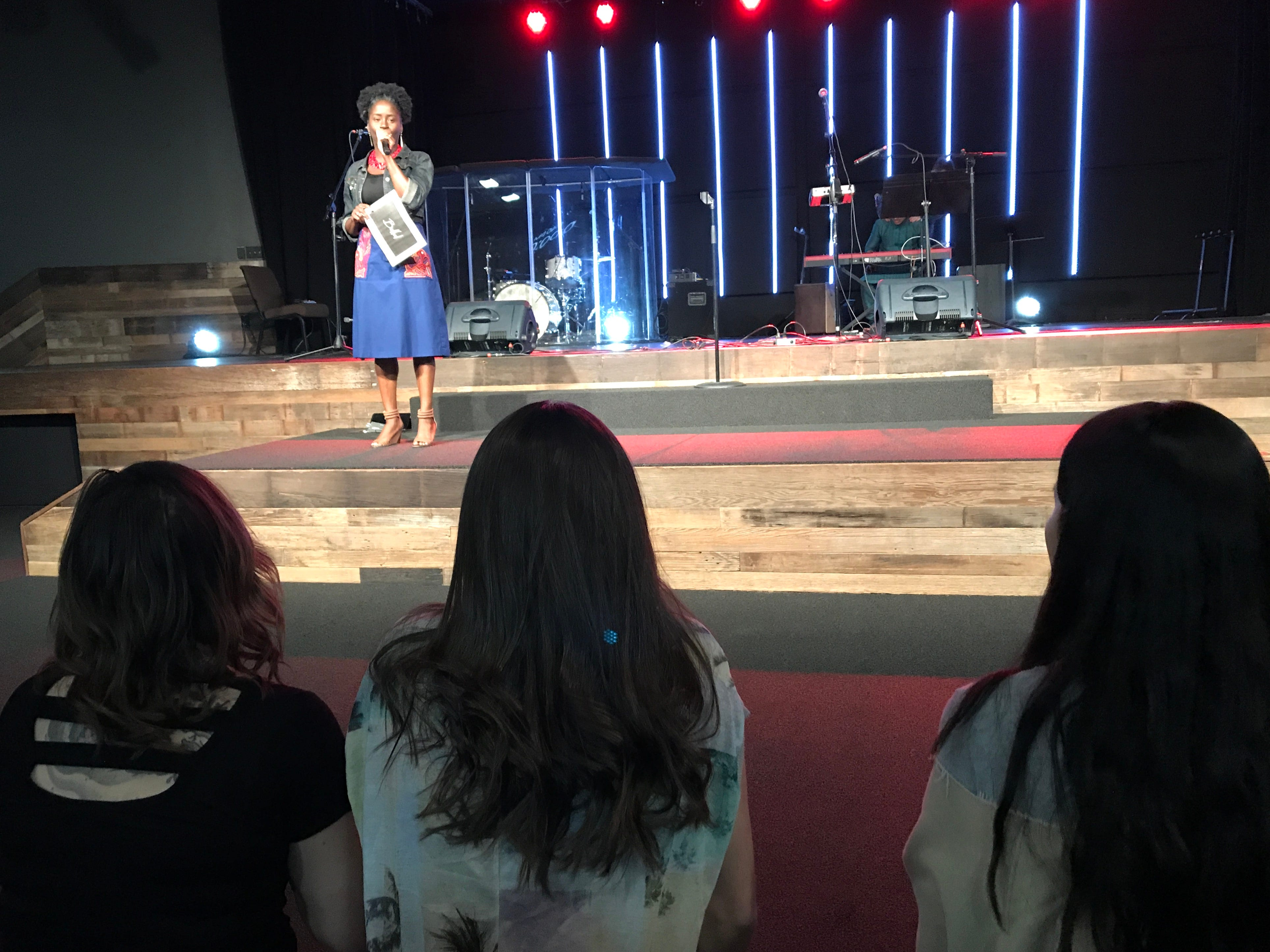 Emcee Jamila Olufemi Page introduces performers. International students from Bethel Church's School of Supernatural Ministry presented the Concert of the Nations on Thursday, March 14, 2019, in Redding.