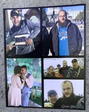 Photos of brothers Melvin Riffel and Bennett Riffel (with beard) hang above a flower and candle memorial outside St. Joseph Roman Catholic Church in Redding on Saturday.