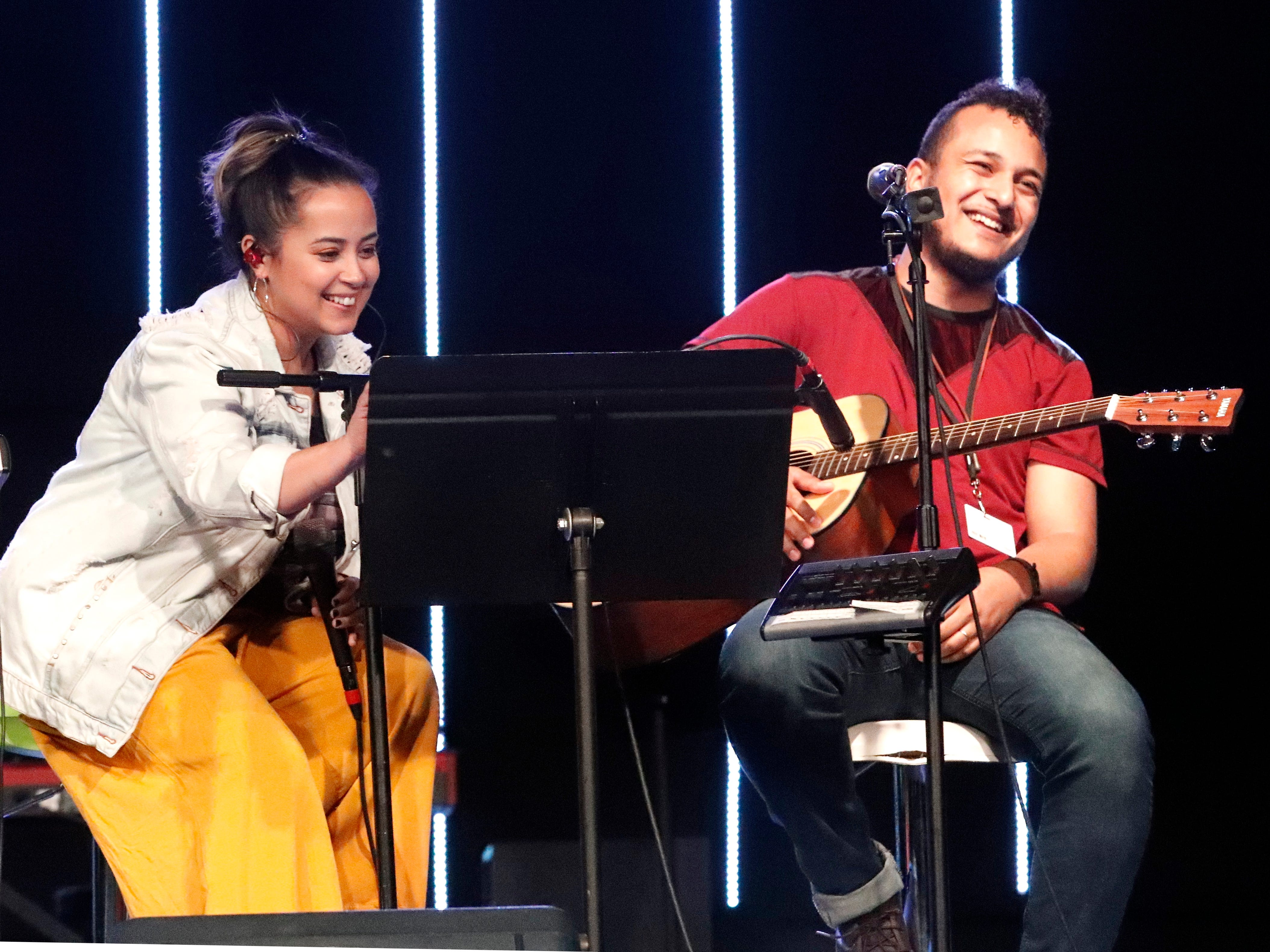 International students from Bethel Church's School of Supernatural Ministry present the Concert of the Nations on Thursday, March 14, 2019, in Redding. Pictured are Kesia Rut Barriga Vieira Vidal and William Augusto Vidal da Silva (Brazil).