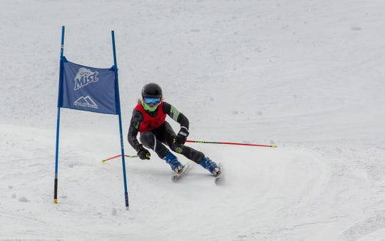 Foothill sophomore Cooper Laloli skies down Mt. Shasta in the state championship giant slalom race on Thursday, March 7, 2019.