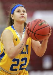 Angelo State's Maria Delgado (22) shoots the ball against West Texas A&M in the NCAA Division II South Central Regional Semifinal on Saturday at the First United Bank Center in Canyon.