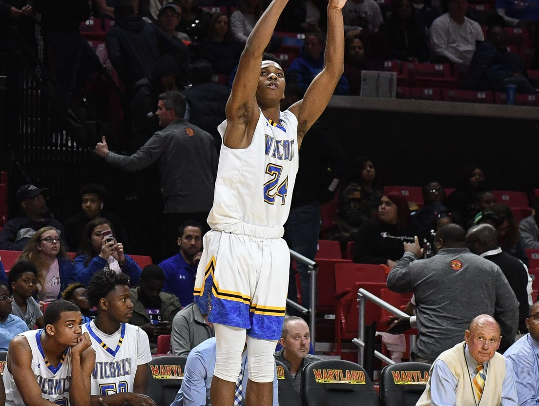 Wi-Hi's Jaden Baker with the long shot against Patterson High School during the MPSSA 2A boys state championship on Saturday, March 16, 2019 at The Xfinity Center in College Park, Md.