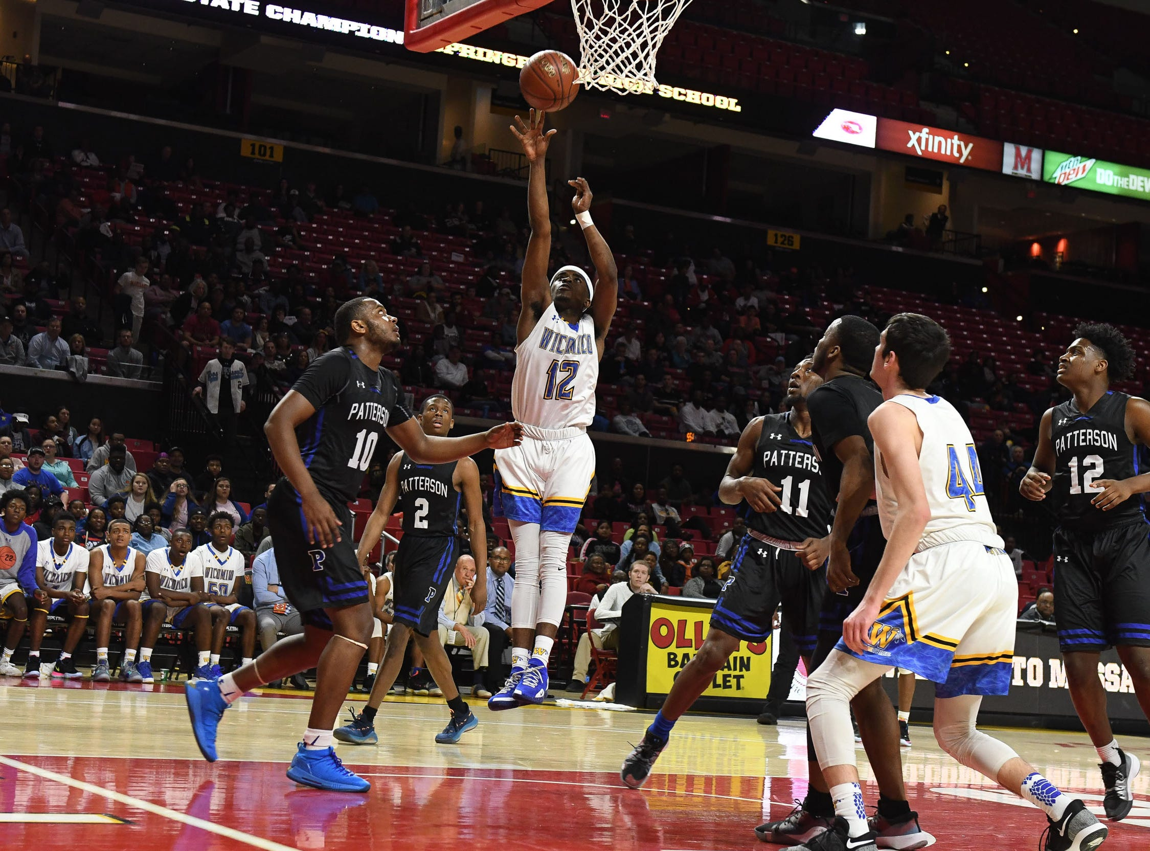 Wi-Hi's Keyshawn Marshall with the shot against Patterson High School during the MPSSA 2A boys state championship on Saturday, March 16, 2019 at The Xfinity Center in College Park, Md.