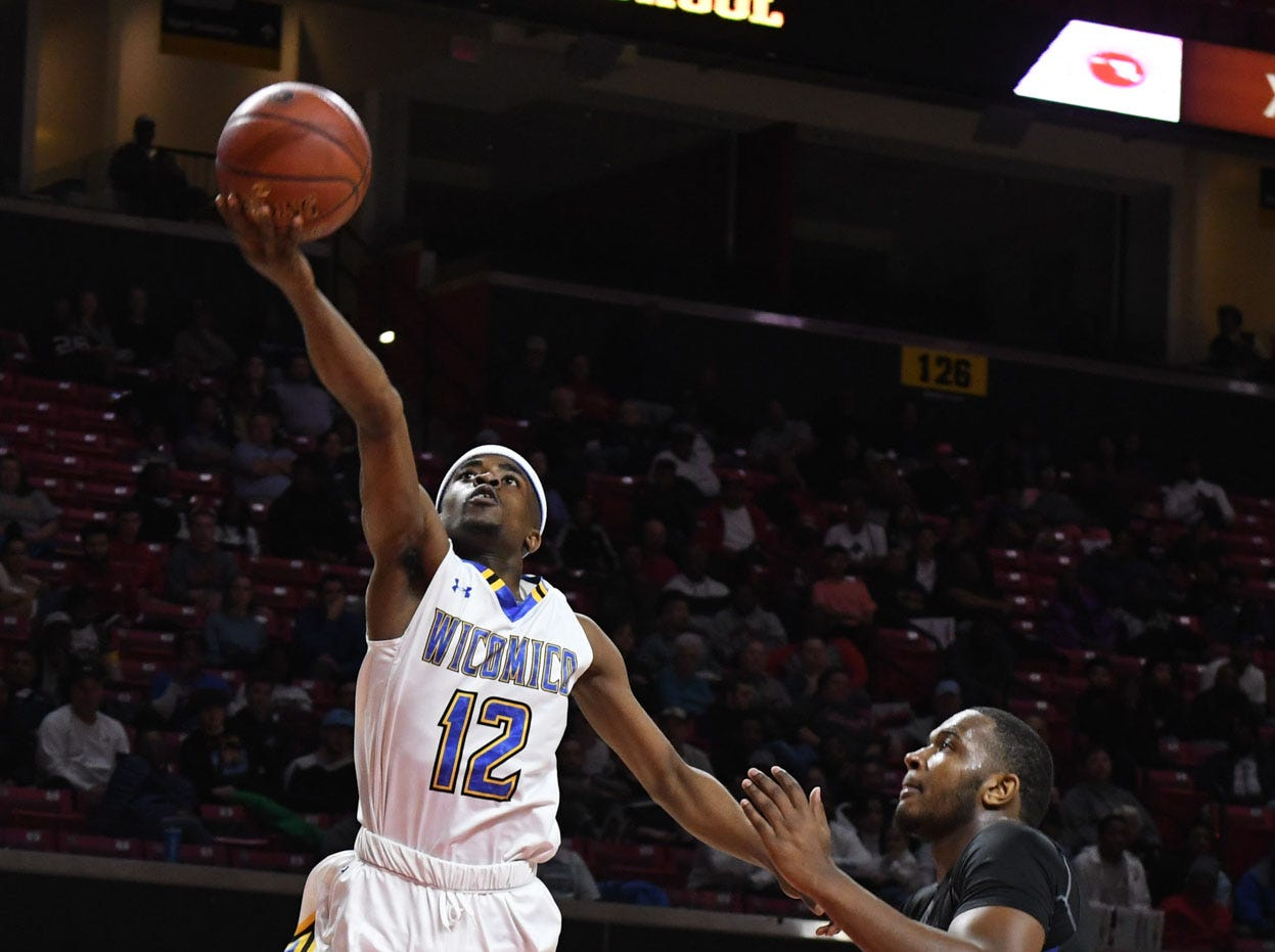 Wi-Hi's Keyshawn Marshall with the layup against Patterson High School during the MPSSA 2A boys state championship on Saturday, March 16, 2019 at The Xfinity Center in College Park, Md.