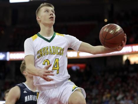 Sheboygan Area Lutheran High School's #24 Casey Verhagen against Columbus Catholic High School during their WIAA Division 5 boys basketball state championship game on Saturday, March 15, 2019, at the Kohl Center in Madison, Wis. 