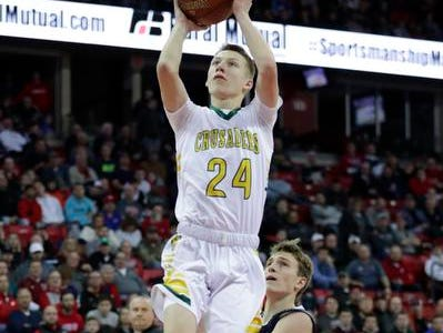 Sheboygan Area Lutheran High School's Casey Verhagen (24) goes up for a layup against Columbus Catholic High School during their WIAA Division 5 boys basketball state championship game at the Kohl Center Saturday, March 16, 2019, in Madison, Wis. Joshua Clark/USA TODAY NETWORK-Wisconsin