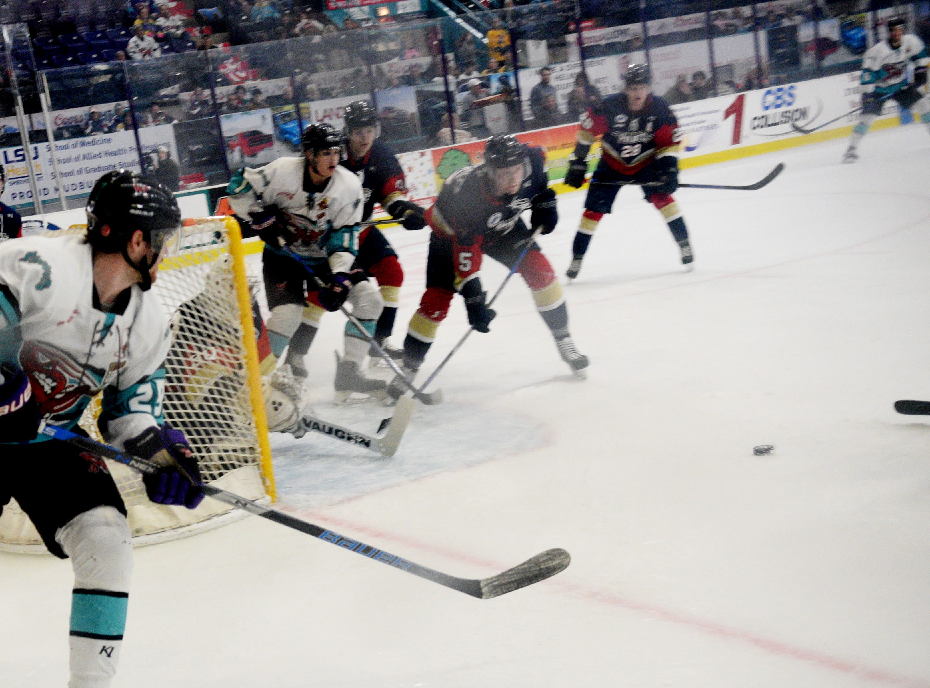 Bring your dog to the Mudbugs game event as they face Topeka Friday evening, March 15, 2019 at George's Pond at Hirsch Coliseum.