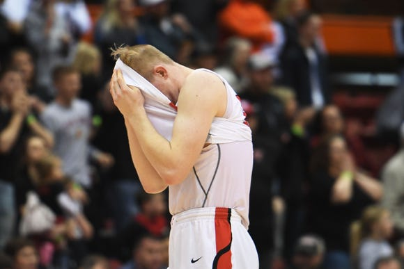 Yankton's Matthew Mors reacts to their loss to O'Gorman in the Class AA semifinals Thursday, March 15, in Rapid City.