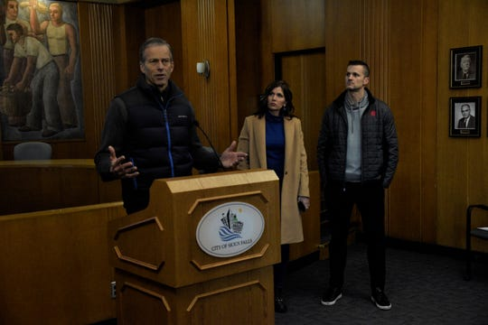 Sen. John Thune, Gov. Kristi Noem and Sioux Falls Mayor Paul TenHaken address concerns and clean up efforts around the city and state after a devastating storm hit South Dakota at Sioux Falls City Hall on Saturday, March 16.