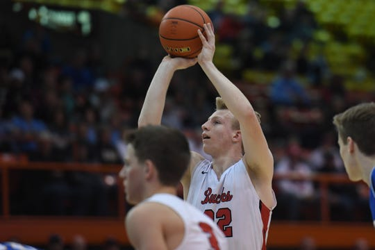 Yankton's Matthew Mors shoots a free throw against O'Gorman during the game in the Class AA semifinals Thursday, March 15, in Rapid City.