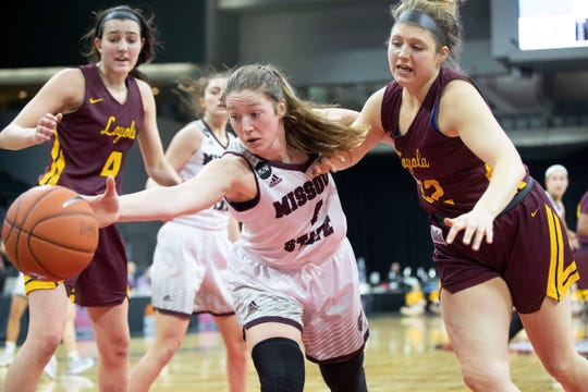 Lady Bear Abby Hipp goes for a loose ball during Missouri State's win over Loyola in the MVC Tournament in Moline, Ill on Friday, March 15, 2019.