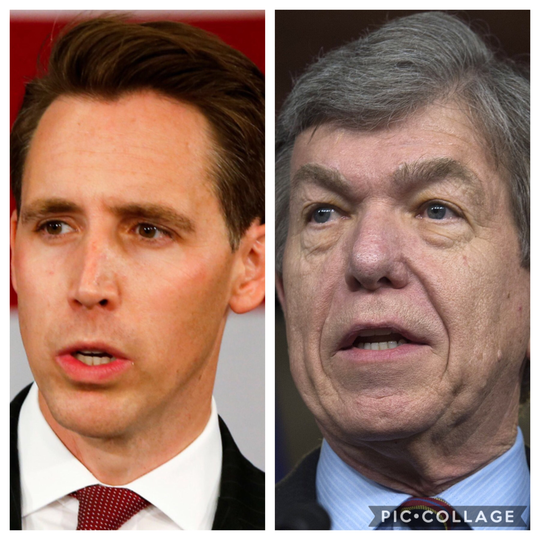 Missouri  Sens. Josh Hawley, left, and Roy Blunt.