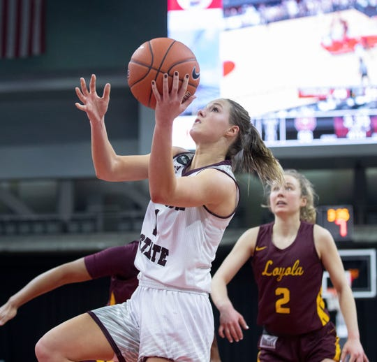 Missouri State's Danielle Gitzen shoots during the second half of the Lady Bears win over Loyola in the MVC Tournament in Moline, Ill on Friday, March 15, 2019.