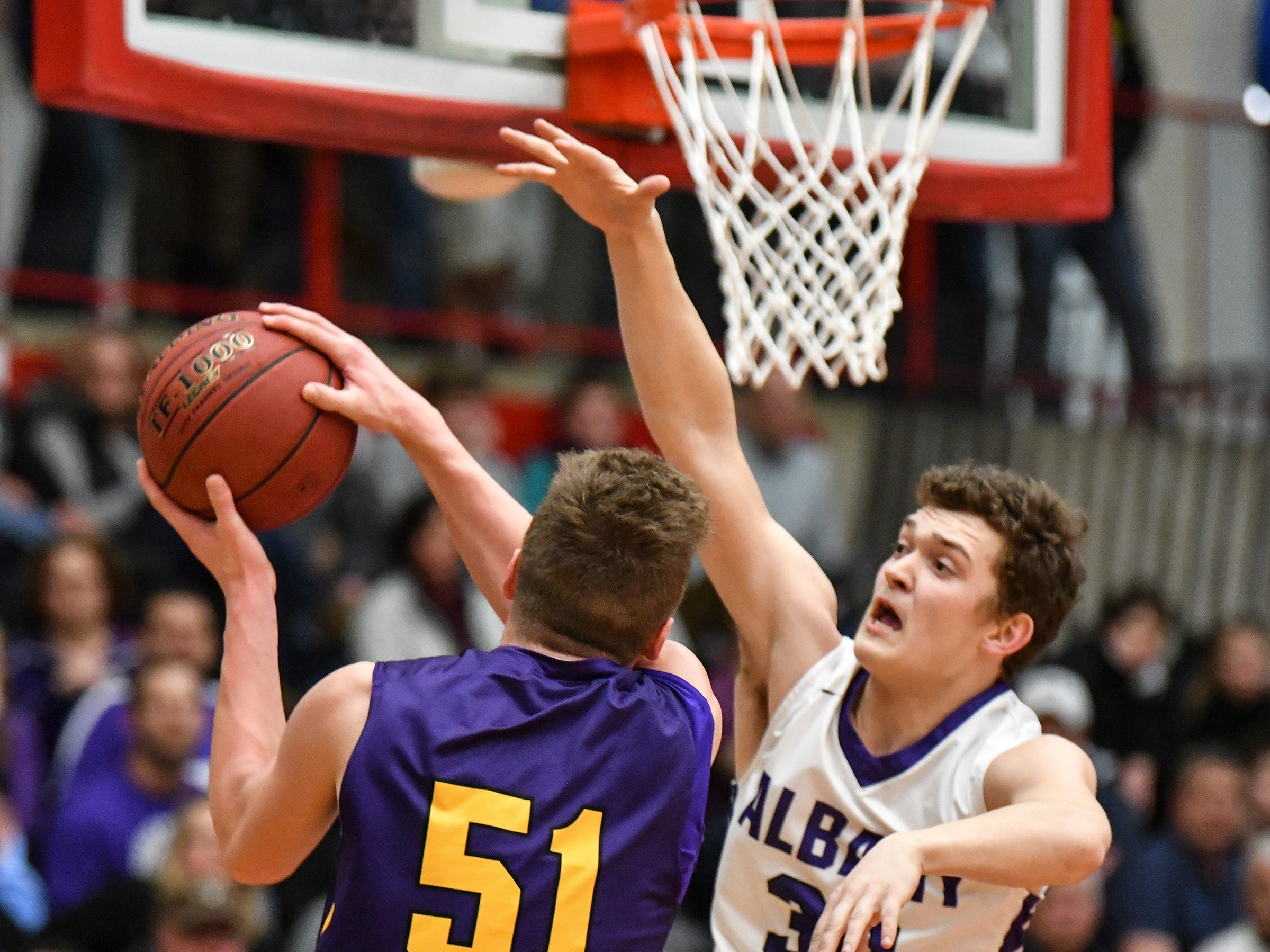 Melrose's Rowan Nelson puts up a shot during the first half of the Friday, March 15, Section 6-2A championship game at Halenbeck Hall in St. Cloud.
