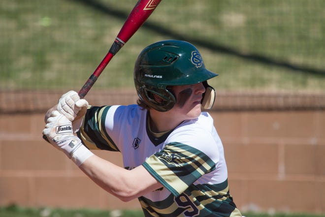 Landon Frei bats against Provo Saturday afternoon. Frei batted 3-7 with five RBI in two games on Saturday.