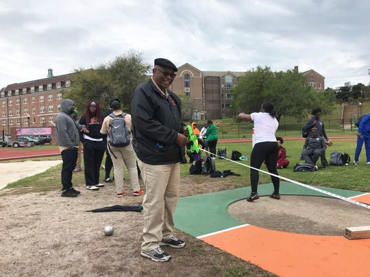 FAMU track legend Nathaniel James worked as an official for the shot put during the FAMU Relays March 15-16, 2019.