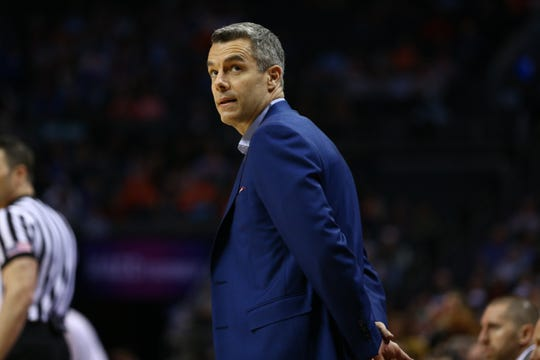 Mar 15, 2019; Charlotte, NC, USA; Virginia Cavaliers head coach Tony Bennett looks on during the first half against the Florida State Seminoles in the ACC conference tournament at Spectrum Center. Mandatory Credit: Jeremy Brevard-USA TODAY Sports