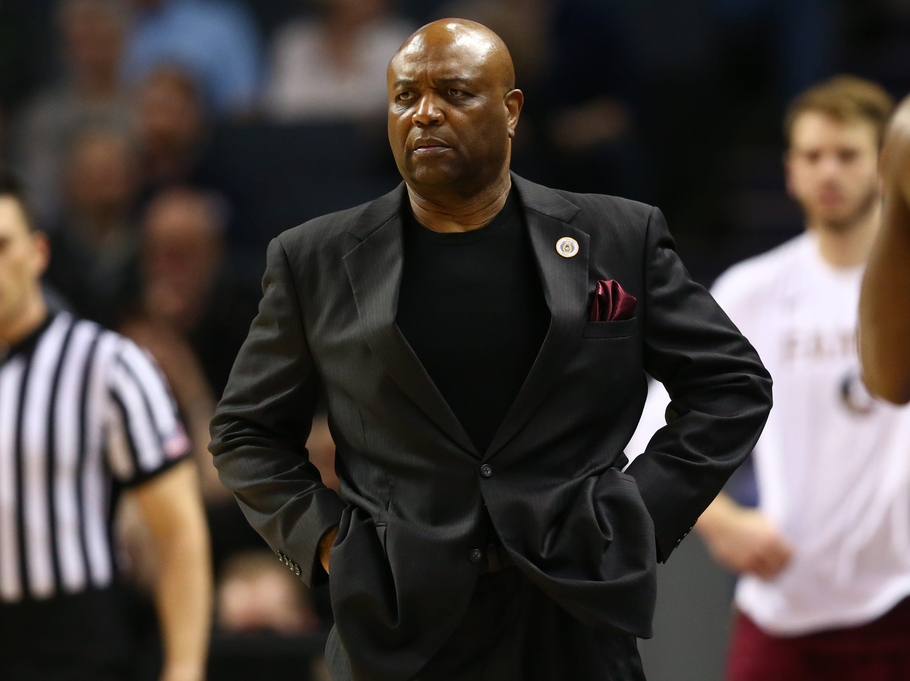 Mar 15, 2019; Charlotte, NC, USA; Florida State Seminoles head coach Leonard Hamilton looks on during the first half against the Virginia Cavaliers in the ACC conference tournament at Spectrum Center. Mandatory Credit: Jeremy Brevard-USA TODAY Sports