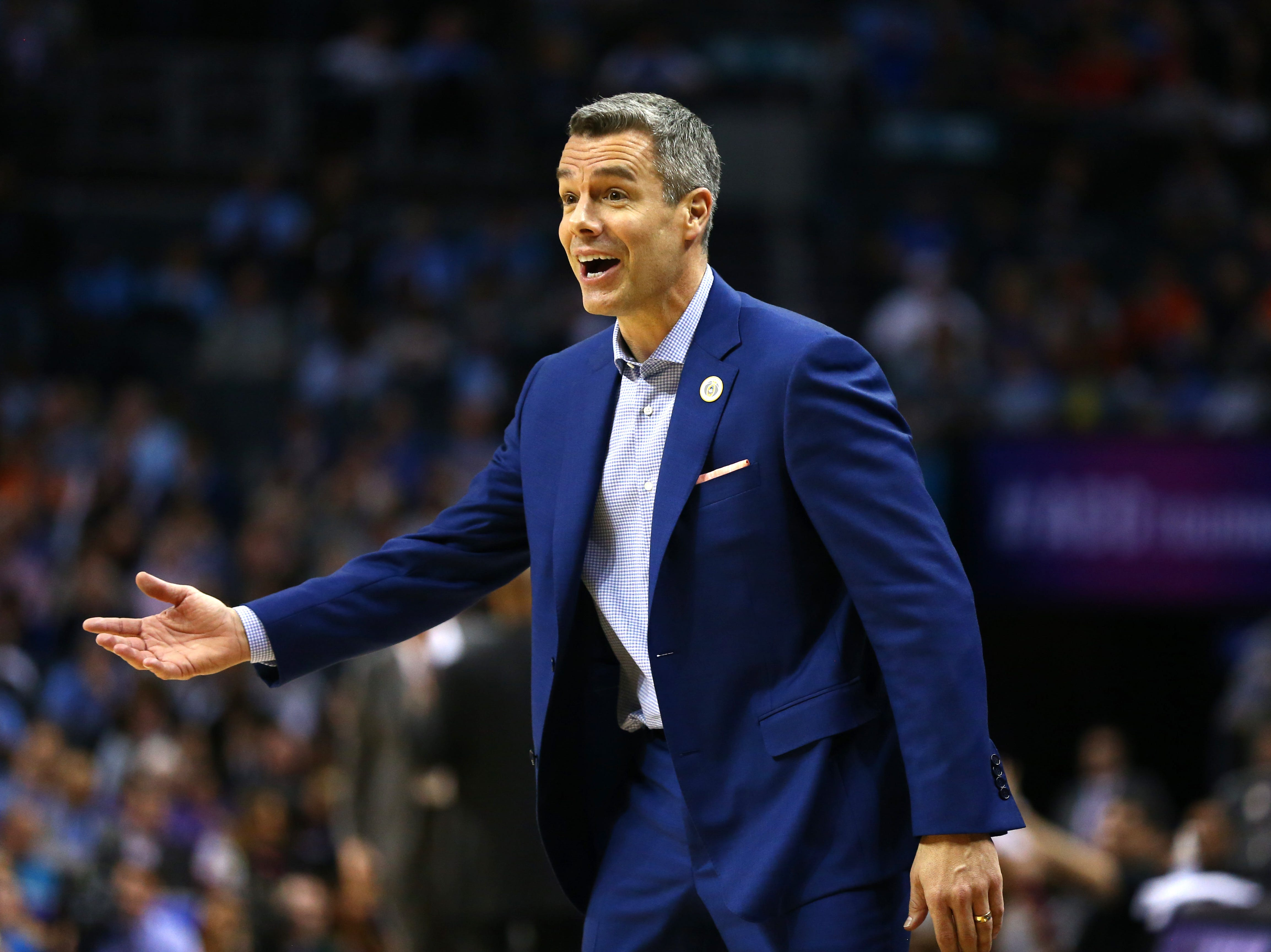 Mar 15, 2019; Charlotte, NC, USA; Virginia Cavaliers head coach Tony Bennett reacts to a call in the second half against the Florida State Seminoles in the ACC conference tournament at Spectrum Center. Mandatory Credit: Jeremy Brevard-USA TODAY Sports