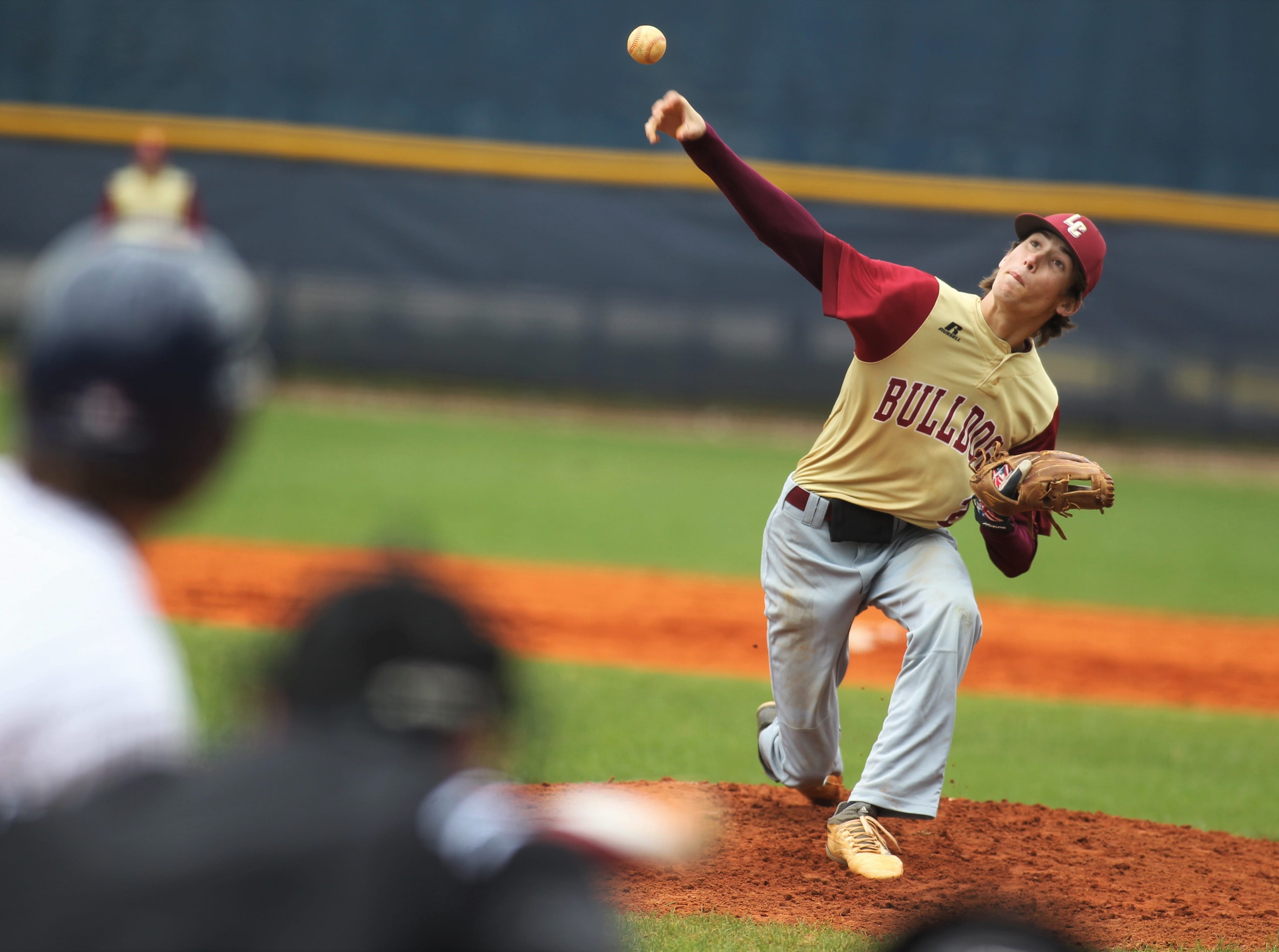 Liberty County pitcher Brent Fant was the winning pitcher as Liberty County's baseball team went on the road to beat Maclay 8-2 on Saturday, March 16, 2019. The Bulldogs played their first game following their head coach Corey Crum's tragic death six days ago.