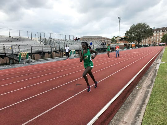 FAMU long-distance runner Mercy Rotich competes in the 10,000 meters at the FAMU Relays on Friday, March 15, 2019.