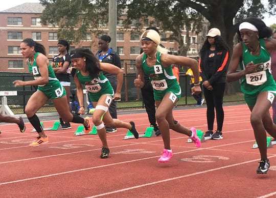 From left to right: Sprinters Catherine Bryant, Asha Alvarez, Ed'Quisha Alvin and Ashley Grant race in the 100-meter hurdles at the FAMU Relays on March 16, 2019.  The women's program looks to defend their team title at the MEAC Outdoor Track & Field Championships May 2-4 in Greensboro, North Carolina.