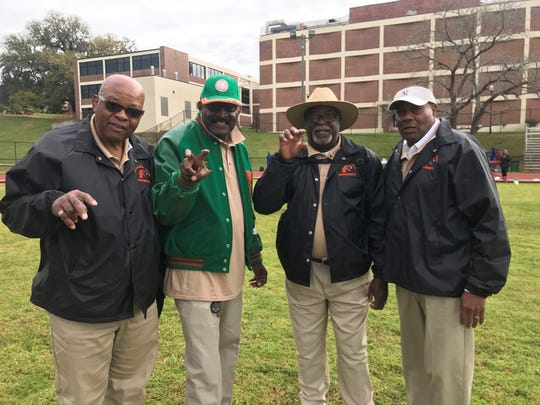 From left to right: The FAMU 4x100 relay team of Nathaniel James, Major Hazleton, Gene Milton and James Ashcroft won three straight Penn Relays from 1966 to 1968. They returned to campus to work as officials for the FAMU Relays March 15-16, 2019.