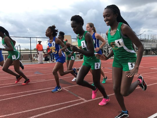 Emmax Kiplagat (1) and Nancy Murgor (2) compete in the women's 10,000-meter run at he FAMU Relays on Friday, March 15, 2019. The Rattlers posted the top four times in this event.