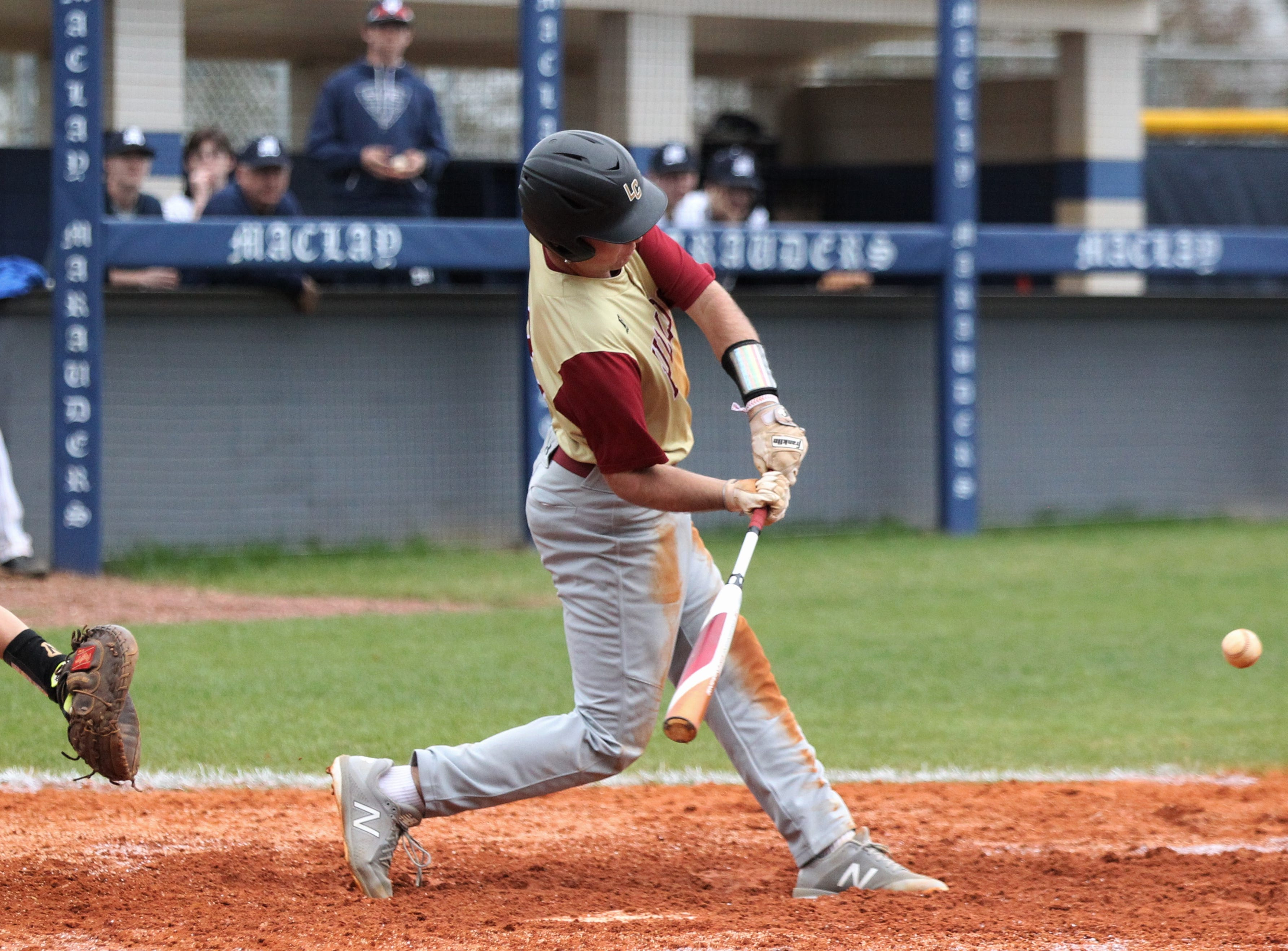 Liberty County's Ethan Grover swings at a pitch as Liberty County's baseball team went on the road to beat Maclay 8-2 on Saturday, March 16, 2019. The Bulldogs played their first game following their head coach Corey Crum's tragic death six days ago.