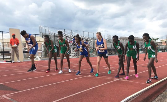 Runners get set at the line to compete in the 10,000 meters at the FAMU Relays on Friday, March 15, 2019.