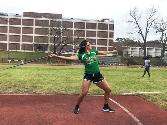 Olivia Simmons competes in the women's javelin at the FAMU Relays on Friday, March 15, 2019.