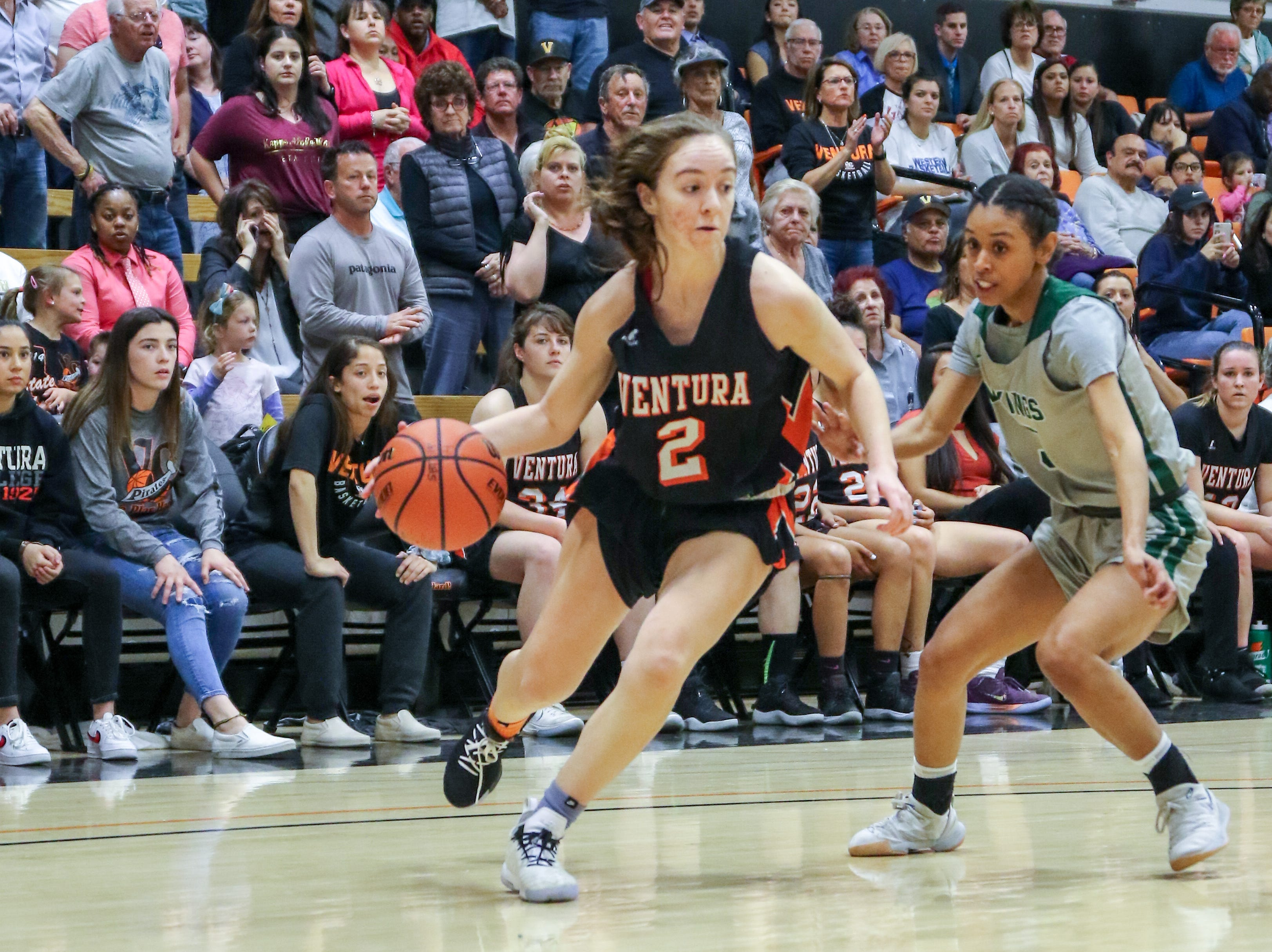 Ventura College freshman Talia Taufaasau drives to the basket during the CCCAA state quarterfinals against Diablo Valley on Friday night in Ventura. Diablo Valley won, 59-57.