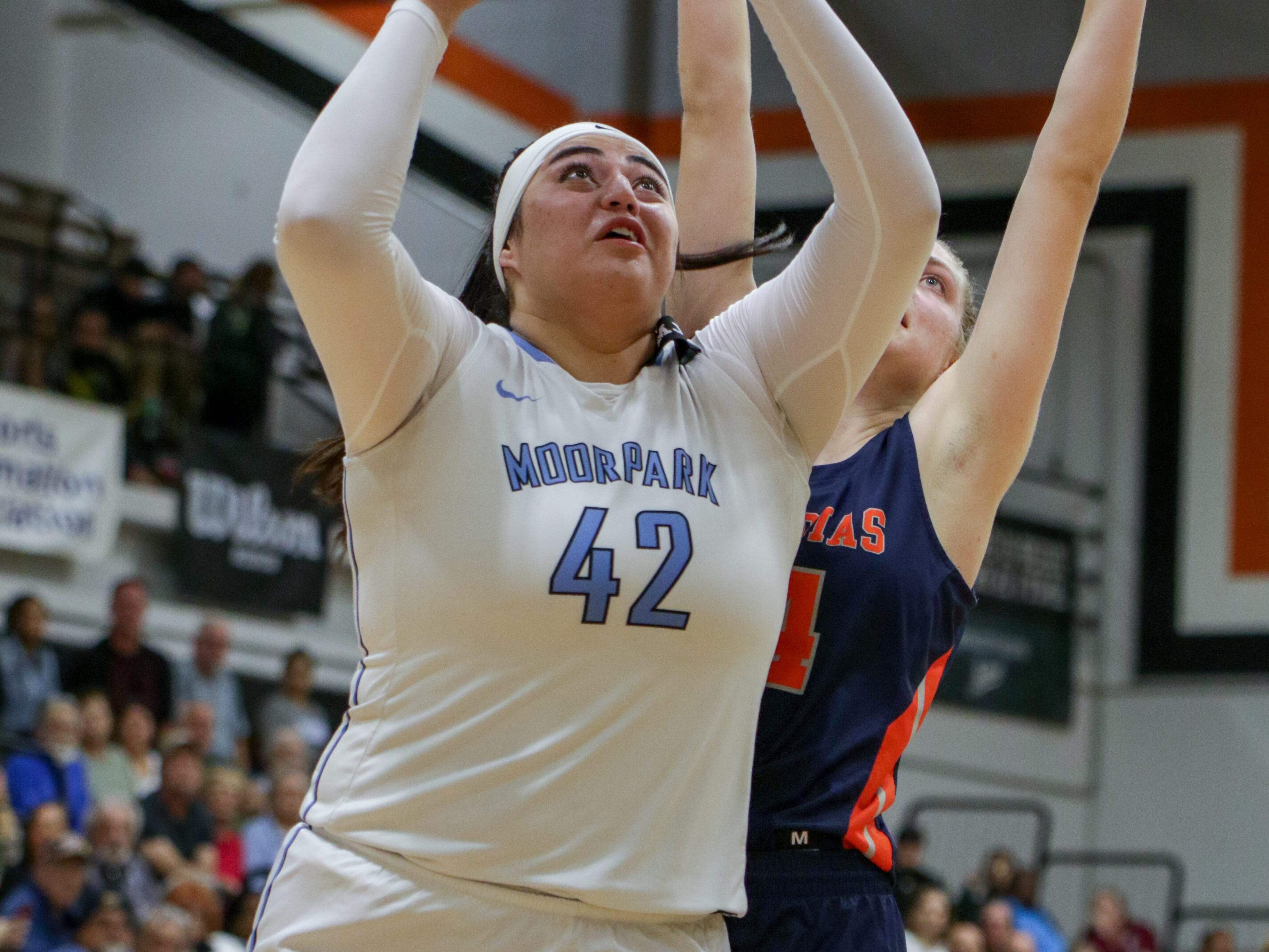 Moorpark College sophomore Barbara Rangel goes to the basket during the CCCAA state quarterfinal against College of the Sequoias on Friday night at Ventura College. Moorpark won, 66-58.