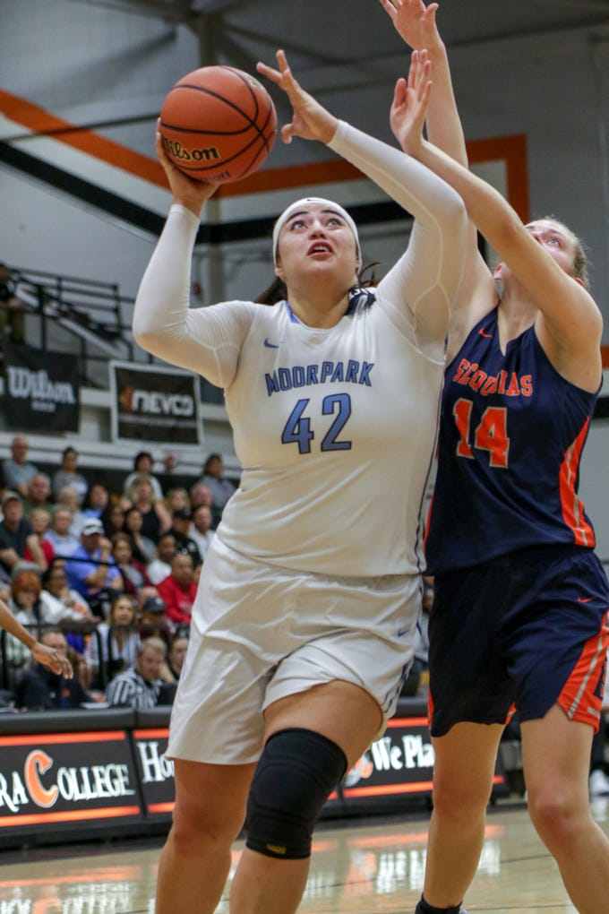 Sophomore Barbara Rangel scores in the post during Moorpark College's CCCAA state quarterfinal against College of the Sequoias on Friday night at Ventura College. Moorpark won, 66-58.