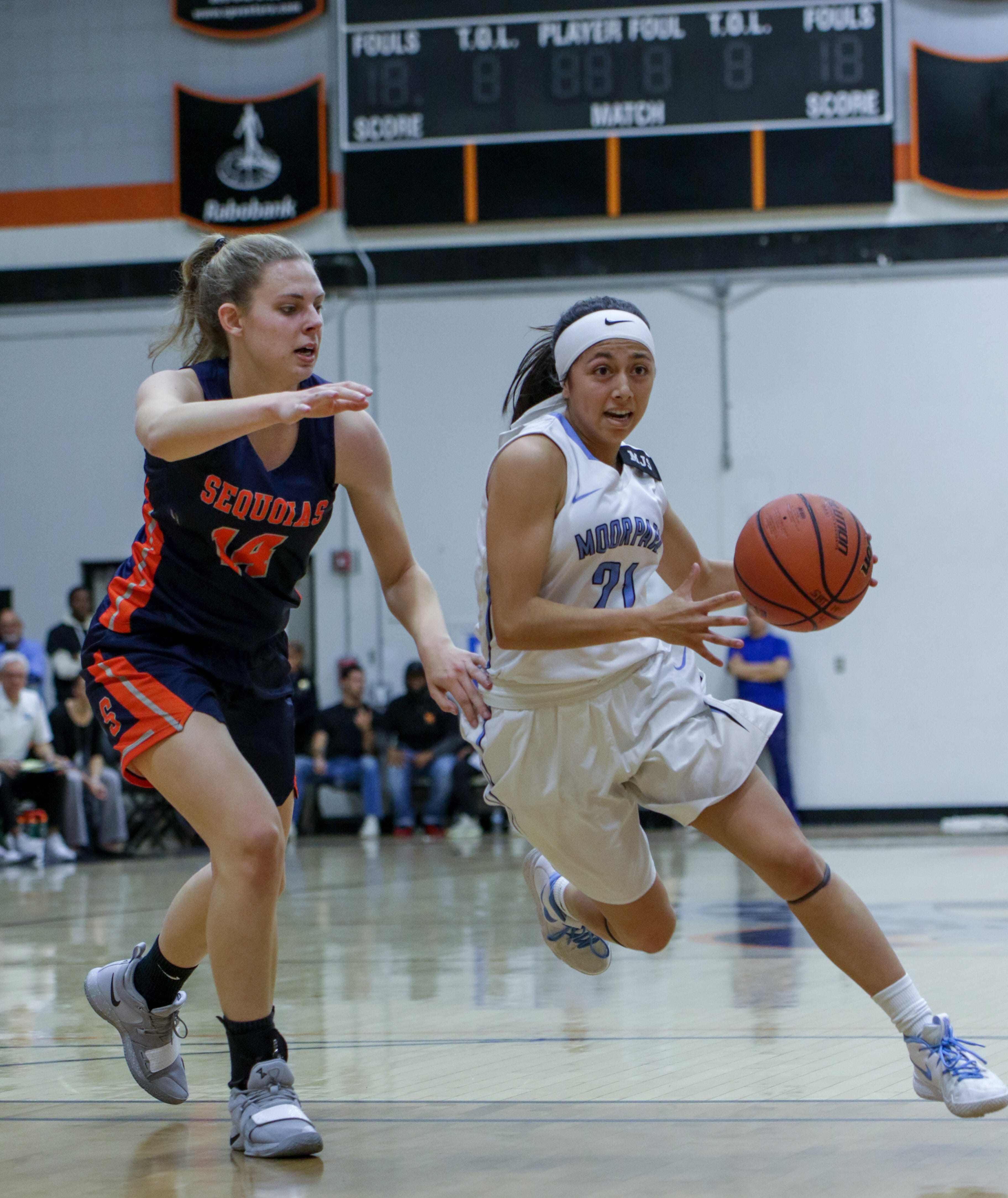 Freshman Jazzy Carrasco dribbles past a defender during the CCCAA state quarterfinal against College of the Sequoias on Friday night at Ventura College. Moorpark won, 66-58.