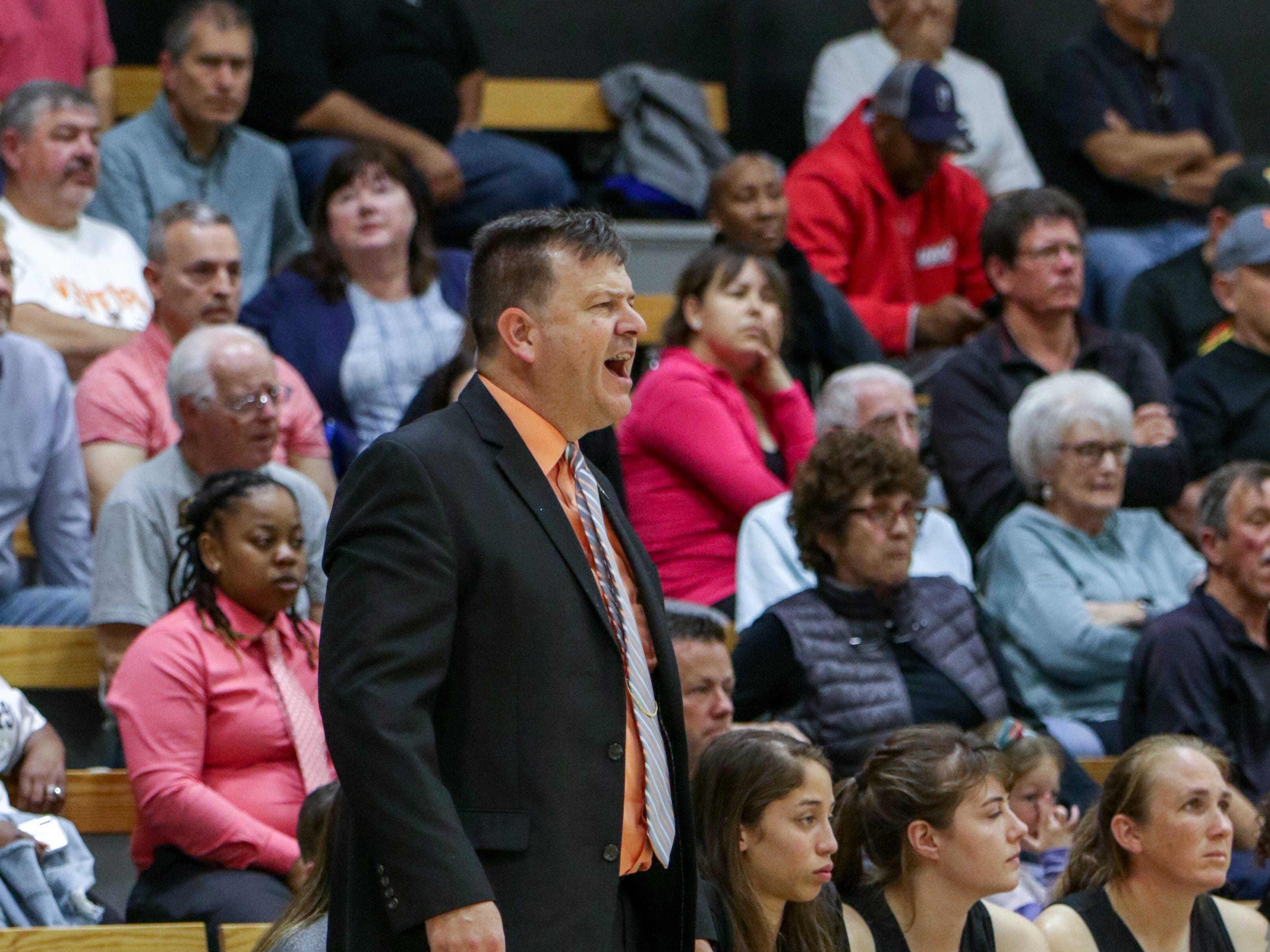 Ventura College assistant coach Robin Hester yells out instructions during the CCCAA state quarterfinals against Diablo Valley on Friday night in Ventura. Hester had to take over when head coach Ned Mircetic was forced to leave in the third quarter because of a family medical emergency.