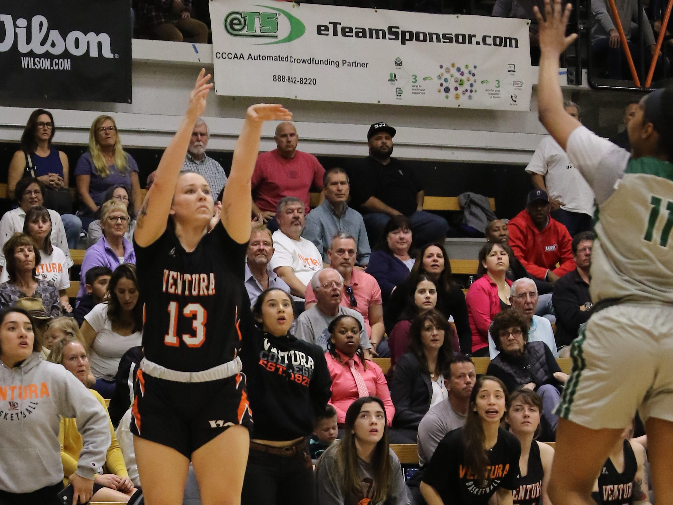 Ventura College freshman Emma Larson buries a corner 3-pointer in the second quarter of the CCCAA state quarterfinals against Diablo Valley on Friday night in Ventura. Diablo Valley won, 59-57.