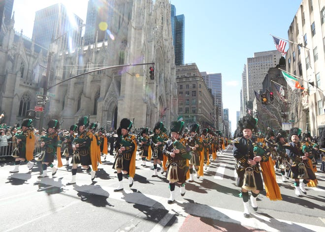 The City of New York Police Department Emerald Society Pipes and Drums march in the 258th annual St. Patrick's Day Parade in New York City March 16, 2019. Hundreds of thousands of people lined Fifth Ave. as the parade made its way from 44th St. up to 79th St.
