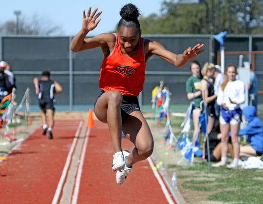 Burkburnett's Tania Lee competes in the long jump at the PK Relay Saturday, March 16, 2019, in Graham.